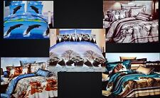 New Todd Linen Animal Design 3 Pcs Queen Reversible Duvet Cover New Active Print