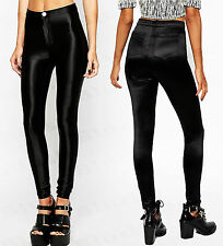 Ladies Girls New Disco Shiny Button Pocket American Style Pants Fashion Trouser