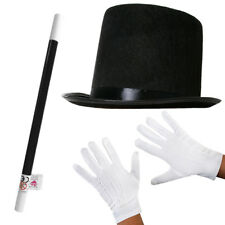 ADULT TOP HAT WHITE GLOVES AND WAND MAGICIAN FANCY DRESS COSTUME SET MAGIC MAN