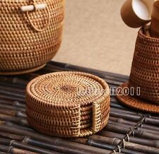 BRAND NEW 6 VINTAGE LOOKING CARBONIZED ROUND BAMBOO COASTER WITH HOLDER