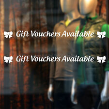 Gift Vouchers Available Shop Window Sticker Twin Pack Decal Transfer Decoration