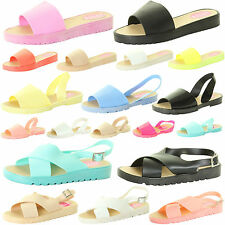 WOMENS LADIES GIRL SUMMER SANDAL BEACH MULES SLIDERS FLIP FLOPS JELLY FLAT SHOES