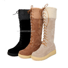 New Womens Ladies Comfort Low Heels Shoes Lace Up Knee High Boots AU ALL Size