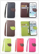 Leaves Magnetic Flip Leather Wallet Case TPU Soft Cover w/ Strap For Cell Phones