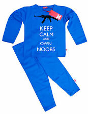 KIDS CHILDRENS BOYS GIRLS ROBLOX INSPIRED OWN NOOBS PYJAMAS (BLUE)