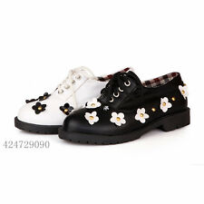 Womens Ladies Causal Girls Shoes Miss Flat Low Heel Lace Up Rivet Flowered Size
