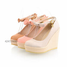 Womens  High Heels Wedge Platform Shoes Sandals Ankle Strap Bowknot UK Size