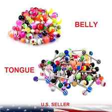 LOT!!! Colorful Ball Tongue Nipple Bar Belly Ring Barbell Body Jewelry Piercing