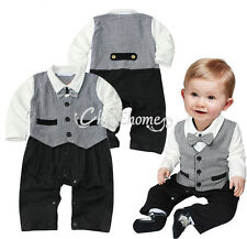 New Baby Boy Wedding Formal Tuxedo Suit Bowtie Romper Bodysuit Outfit Size 0 1 2