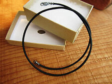 2mm Leather Cord Necklace - Antiqued Pure Sterling Silver - Natural Black - mens