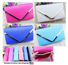 Woman Fashion PU Leather Crossbody Wallet Purse Clutch Bag With Long Short Strap