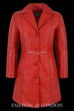 Ladies MIDDLETON Red Washed Lambskin Knee Length Real Leather Jacket Long Coat