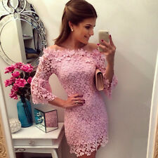New Sexy Woman PINK Lace Floral Bandage Cocktail Evening Prom Party Mini Dress