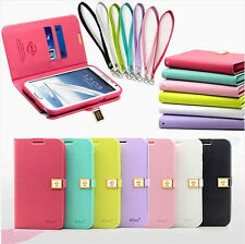 Hot Sale Ailun Flip Magnetic Leather Wallet Case Cover For Iphone/Samsung+Strap