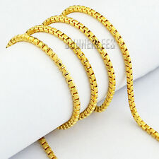 2mm NEW Fashion Jewelry Men Women 18K Yellow Gold Filled Necklace Box Link Chain