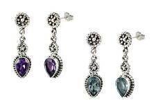 Sterling Silver 925 (Your Choice) Balinese Pear Shape Dangle Earrings
