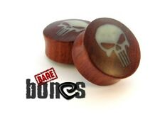 "Bare Bones Pair of Organic Blood Wood Plugs 10mm to 1"" [Select Your Size]"