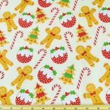 Christmas Gingerbread Men Candy Canes Holly Tree Polycotton Fabric