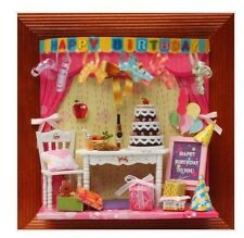 Dollhouse Miniature DIY Kit 3D Picture Frame Wall Decoration with Room Scene NEW