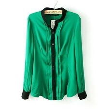 Hot Lady Long Sleeve Blouse Tops Casual Chiffon Button Down Shirt In Green ab