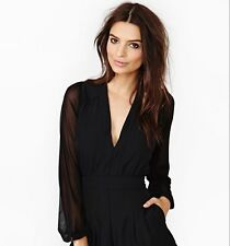 Fashion Deep V-Neck Long Sleeve Jumpsuit Sexy Women Chiffon Rompers Short Pant a