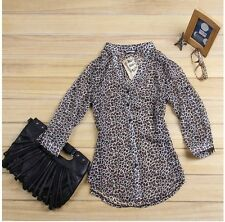 Women Shirt Top Korean Fashion Sexy Leopard Tin Chiffon Long Sleeve Blouse ab
