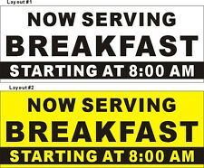 2ftX5ft Custom Printed Now Serving Breakfast Banner with Your Additional Text