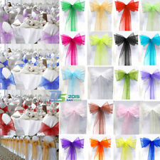 """100 Sheer Organza Party Wedding Banquet Chair Cover Sashes Bow Decorations 108"""""""