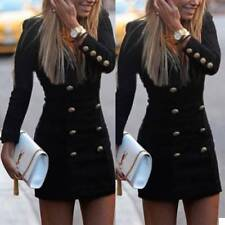 Fashion Women Buttons Bodycon Long Sleeve Evening Sexy Party Cocktail Mini Dress