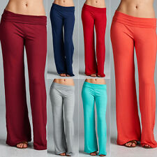 Hot Women's Casual Stretch Pants Wide Leg Long Bohemian Loose Palazzo Trousers