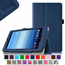 """Folio Stand Case Vegan Leather Cover  for Nextbook Ares 7 (NXA7QC132) 7"""" Tablet"""