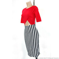 Red Yellow Surplice Top Front Back Hole Open Vertical Stripe Midi Bodycon Dress