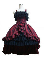 Ladies Red Victorian Princess Layered Gown Ball Lolita Dress Cosplay Costume