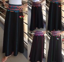 Vintage Cotton Panelled Embroidered Long Bohemian Gypsy Hippie Indie Boho Skirt