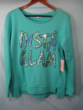 "NWT  Juicy Couture Turquoise Longsleeve Women's Top Sequin "" InstaGlam """