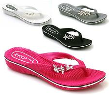 Ladies Diamante Low Wedge Summer Beach Toe Post Slip On Rubber Sandals Shoes