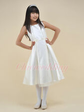 Elegent Satin Flower Girl Dress Bridesmaid Wedding Party Pageant Graduation