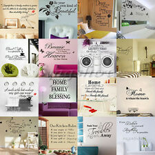Family DIY Removable Wall Stickers Decal Art Vinyl Quotes Mural Home Room Decors