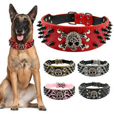 Didog Spiked Studded PU Leather Dog Collars for Pitbull Boxer German Shepherd