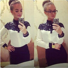 Fashion Women Cape-style lace Blouses Shirt Spring Autumn Long Sleeve Tops