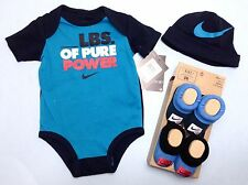 AIR NIKE 4 piece set Newborn Boys Bodysuits,  Hat & 2 pair of booties 0-6 mo