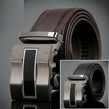 Fashion Men's Genuine Leather Alloy Automatic Buckle Waist Strap Belts Waistband