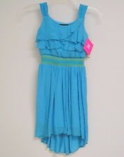 Girls Summer Dress Sz 16 Turquoise Hi Low Ruffled Bodice iZ Byer Girl NWT