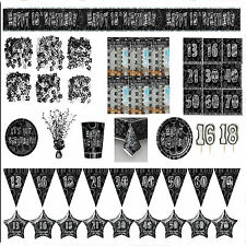 Black and Silver Aged Birthday Party Decorations Tableware 13-80 Plates Napkins