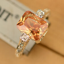 U Pick Brown Morganite & White Topaz 925 Sterling Silver Ring Size 7/8/9 J202