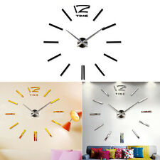 2015 Hot Luxury DIY 3D Wall Clock Home Decor Bell Cool Mirror Stickers Watch