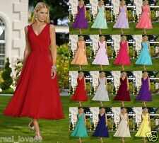 Formal Tea Length V-neck Evening Party Ball Gown Prom Bridesmaid Dress Size 6-18