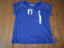 NWT Womens ELLEN TRACY COMPANY MARINA BLUE SHORT SLEEVED EMBELLISHED SHIRT XL