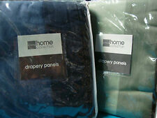 JCPenney Home Misty Jade or Onyx Blue Curtains Drapery Pair 84L with Side Border