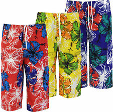 Boys Shorts Long Knee Length Floral Kids Childrens Summer Swim Clothes Ages 3-14